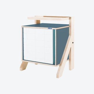 FRAME Night Table - Stone Blue Grey with Transparent Blue Screen