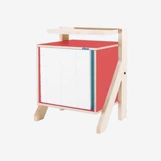 FRAME Night Table - Cherry Red with Transparent Blue Screen