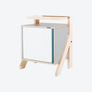 FRAME Night Table - Dusty Grey with Transparent Blue Screen