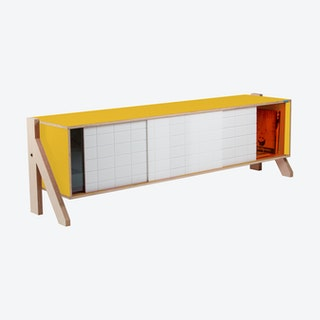 FRAME Sideboard 01 - Canary Yellow with Transparent Orange Screen
