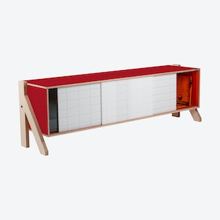 FRAME Sideboard 01 - Cherry Red with Transparent Orange Screen