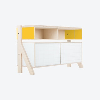 FRAME Sideboard 02 - Canary Yellow with Transparent Blue Screen