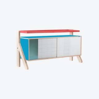 FRAME Sideboard 03 - Iris Blue with Transparent Blue Screen