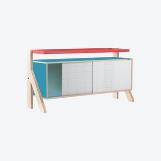 FRAME Sideboard 03 - Stone Blue Grey with Transparent Blue Screen