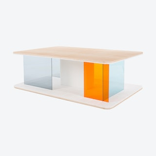 GRID Coffee Table - Ash with Transparent Blue & Orange Screens