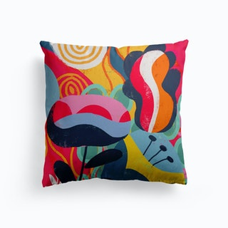 Abstract Florals Canvas Cushion