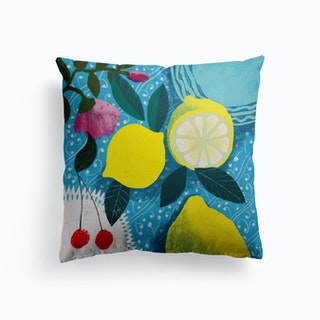 Lemon And Cherries Canvas Cushion