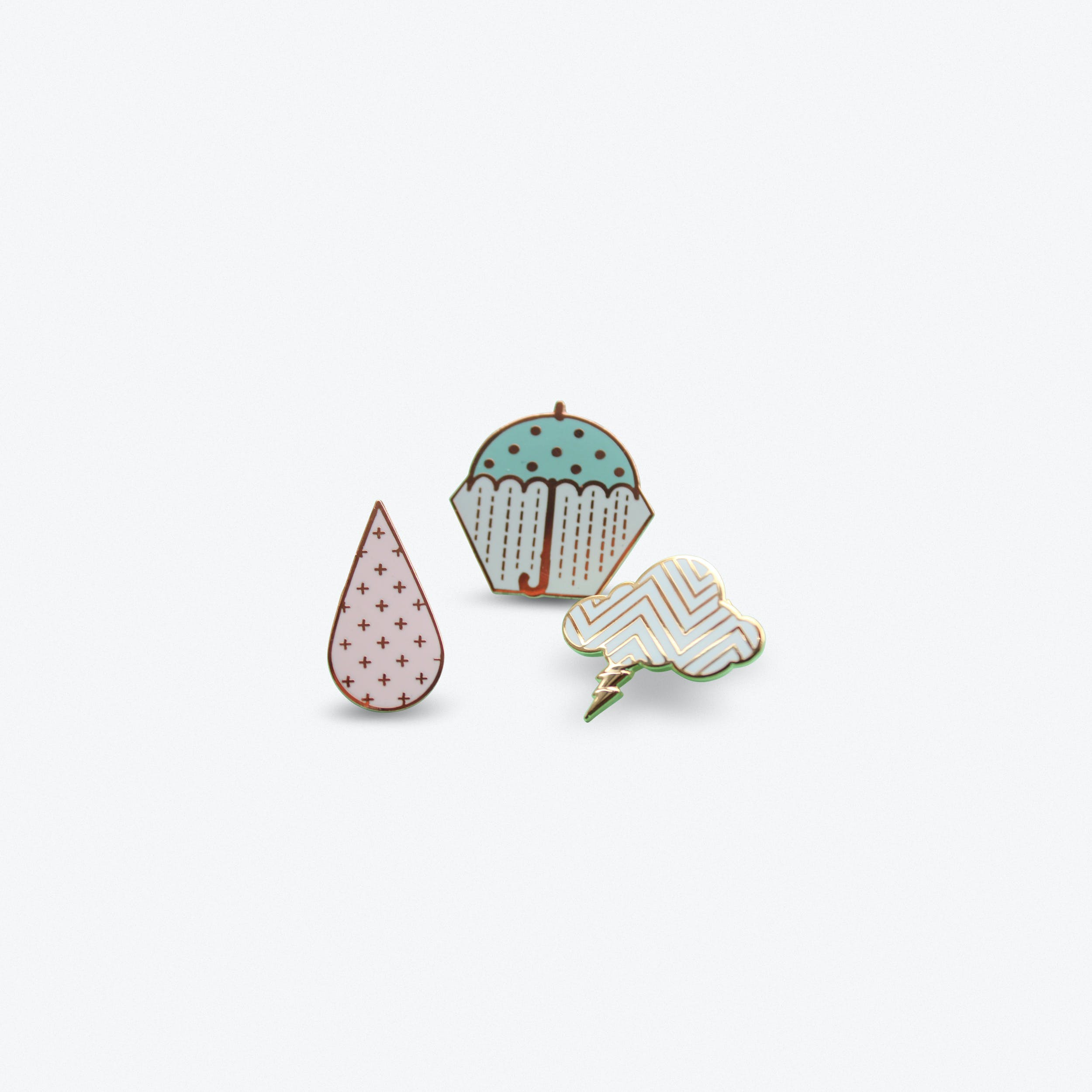 Set of 3 Pastel Weather Pins