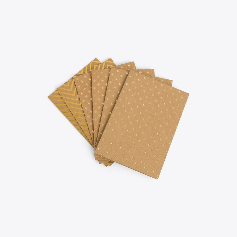 Set of 6 Gold Greeting Cards