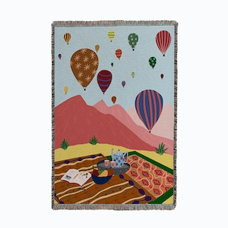 Hot Air Balloon Picnic Small Woven Throw