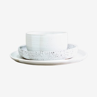 Simple Place Setting with Noodle Bowl - Moonstone / Dalmatian - Set of 3
