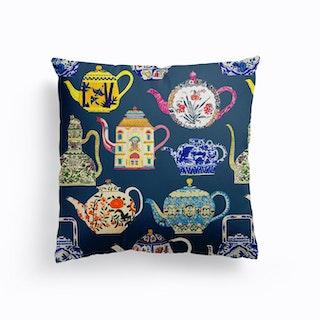 Antique Teapots Canvas Cushion