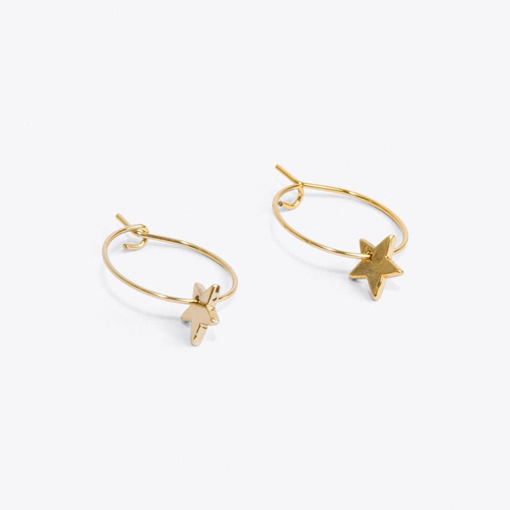 Thread Through Star Hoop Earrings