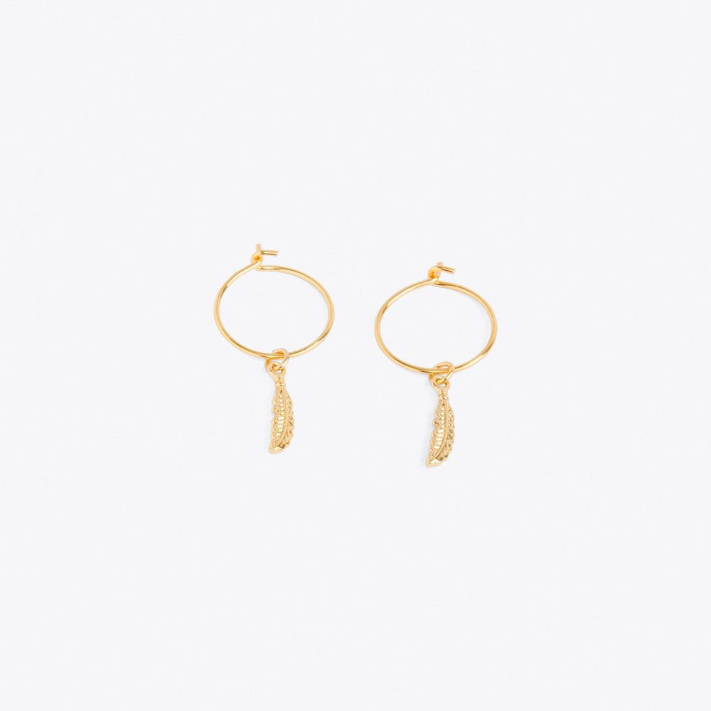 Pale Gold Feather Thread Through Hoop Earrings