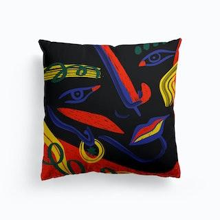 Abstract Face Canvas Cushion