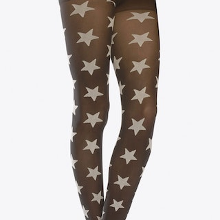 Two Toned Stars Tights In White