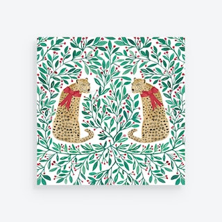 Christmas Square Leopard Holiday Placemats - Paper - Set of 24