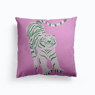 Tiger Doesnt Lose Sleep Pink And Green Canvas Cushion
