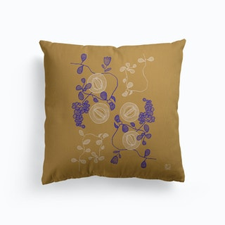 Embroidered Flowers Canvas Cushion