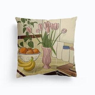 Kitchen Still Life With Pink Tulips Canvas Cushion