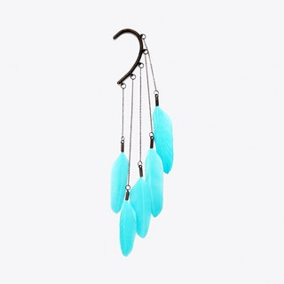 Dangle Feather Ear Cuff in Turquoise