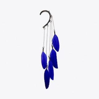 Dangle Feather Ear Cuff in Blue
