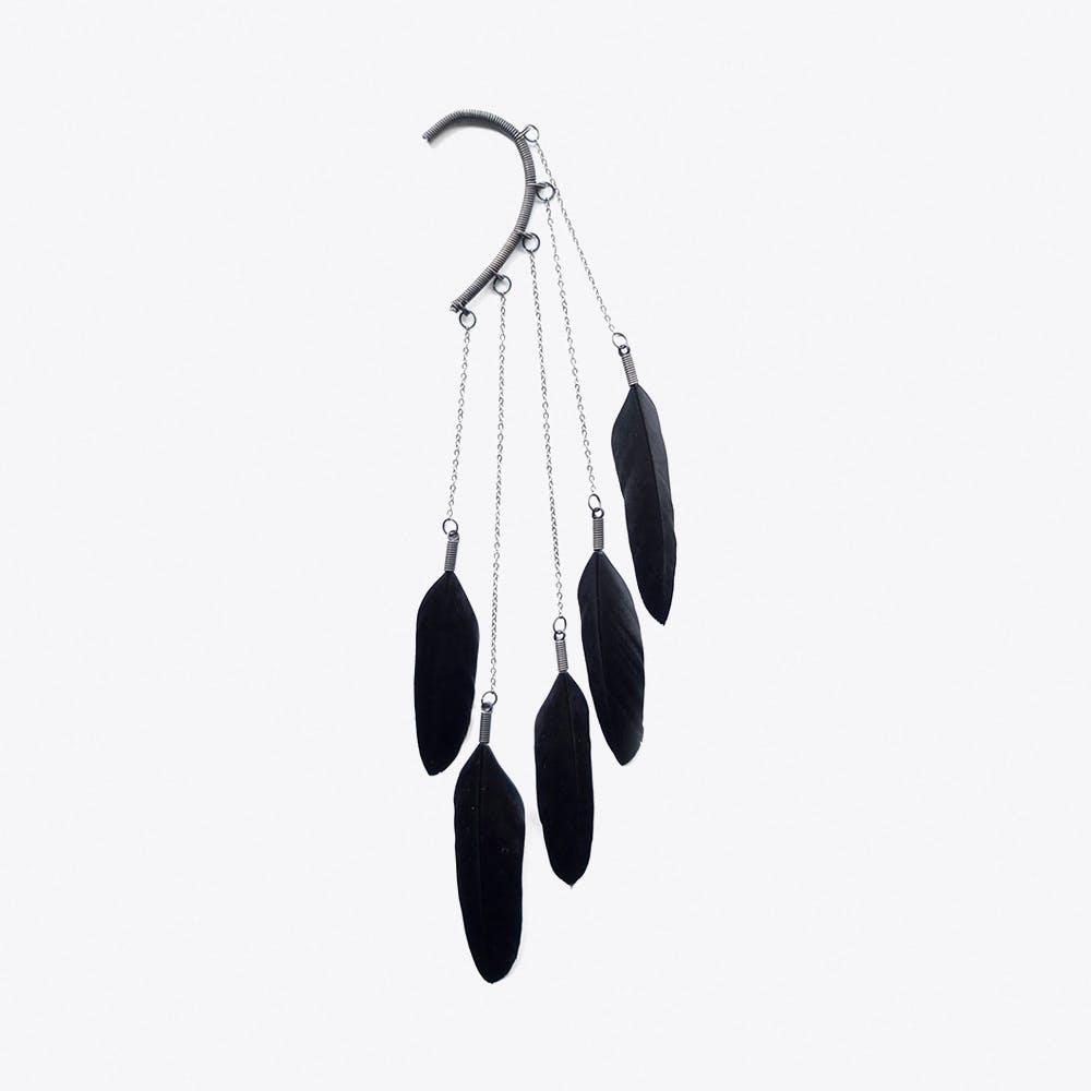 Dangle Feather Ear Cuff in Black