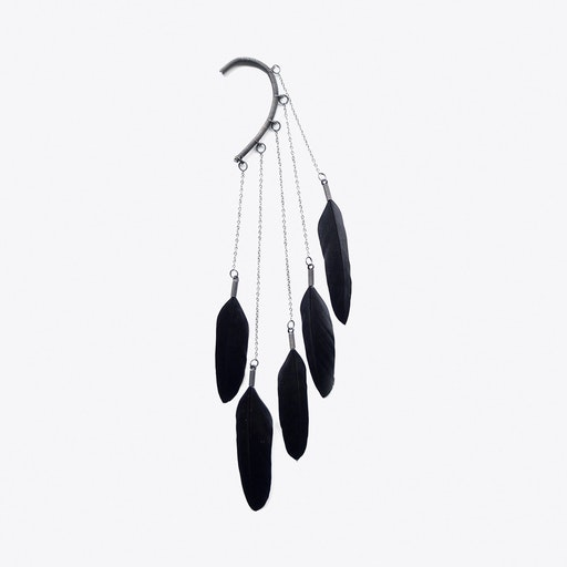 Dangle Feather Ear Cuff in Black