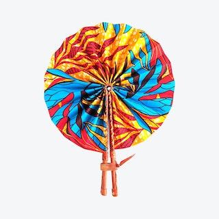 Palm Ankara Folding Fan - Orange