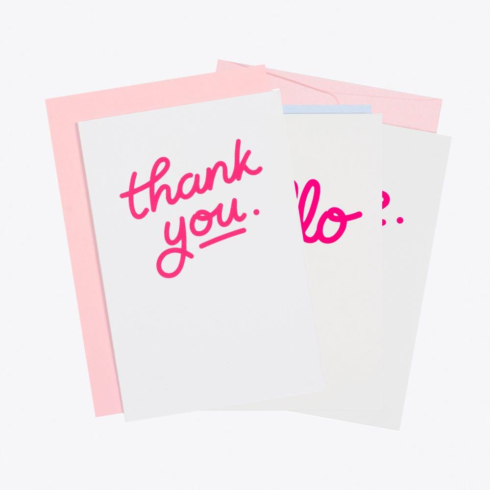 Pink Neon Greeting Card Set
