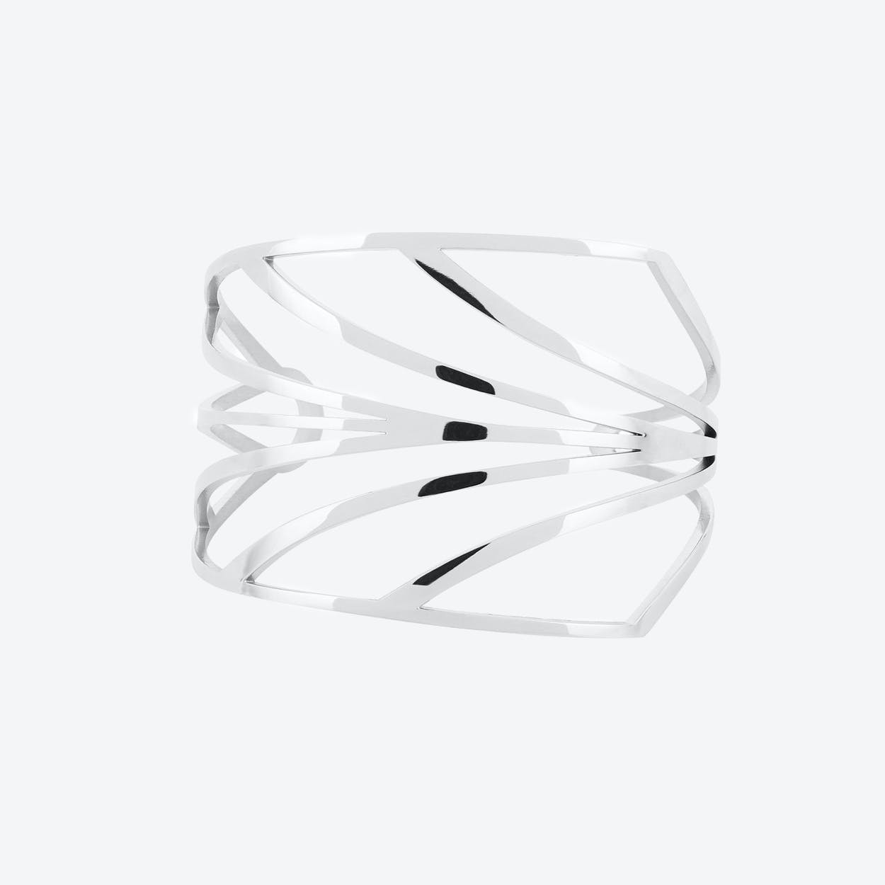 Chandelier Deco Cuff in Polished Stainless Steel
