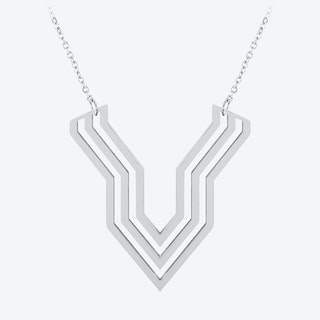 Chevron Deco Pendant in Polished Stainless Steel