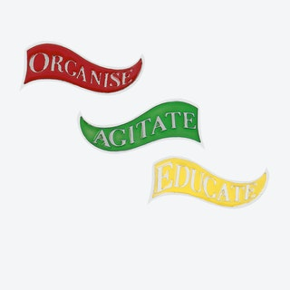 William Morris Activist Slogan Brooch in Set of 3 in Polished Stainless Steel