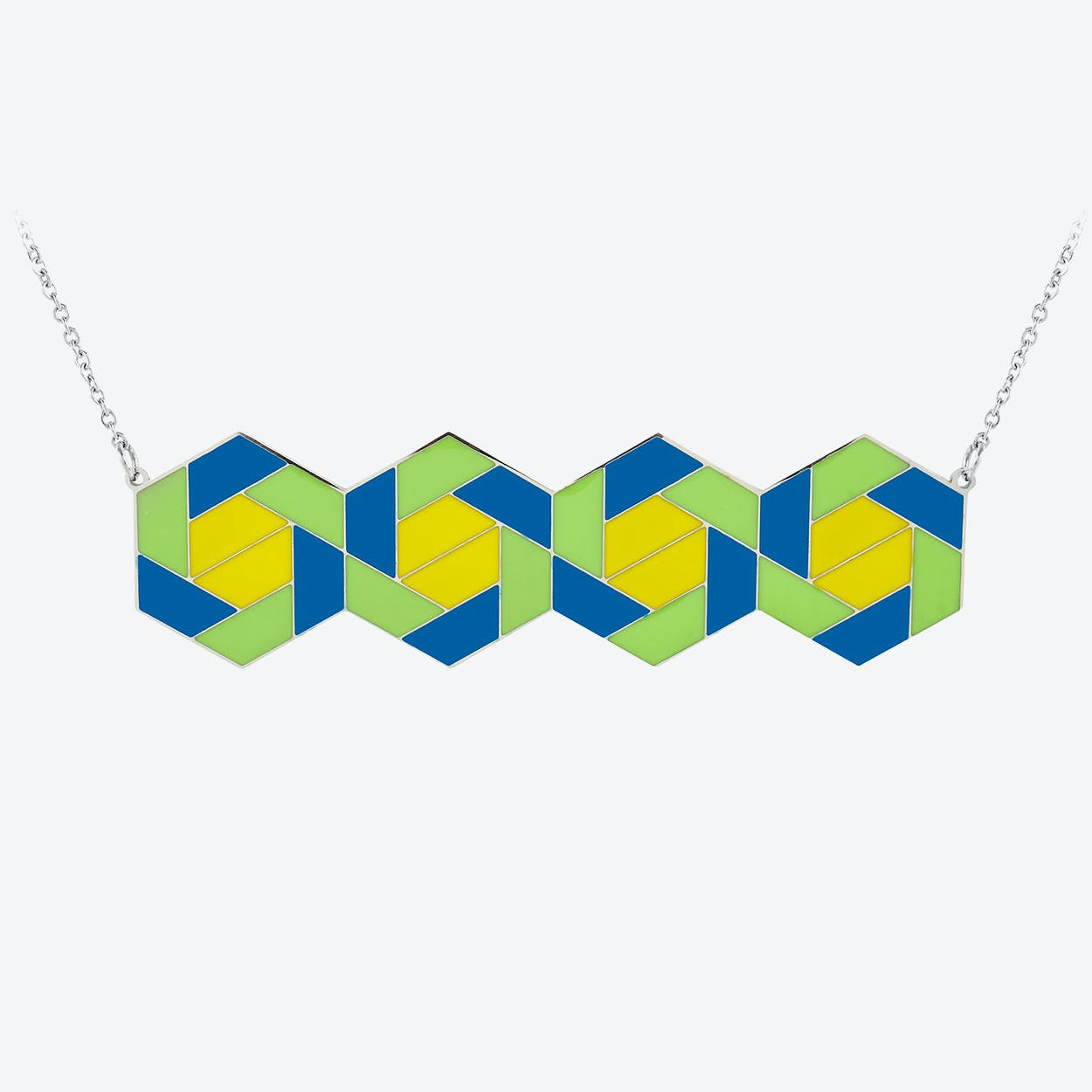 Enamel Hexagon Pendant in Green & Yellow Enamel  in Polished Stainless Steel