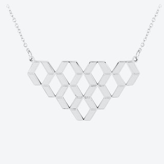 Diamond Hex Pendant in Polished Stainless Steel