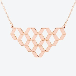 Diamond Hex Pendant in 18ct Rose Gold Plate