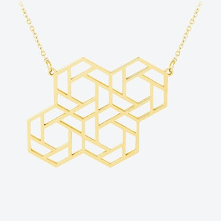 Four Hex Pendant in 18k Gold Plate