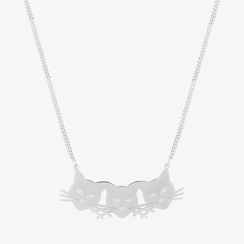Three Cats Necklace in Stainless steel