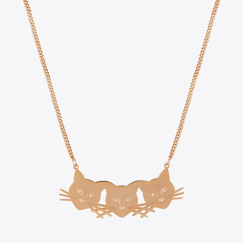Three Cats Necklace in Rose gold