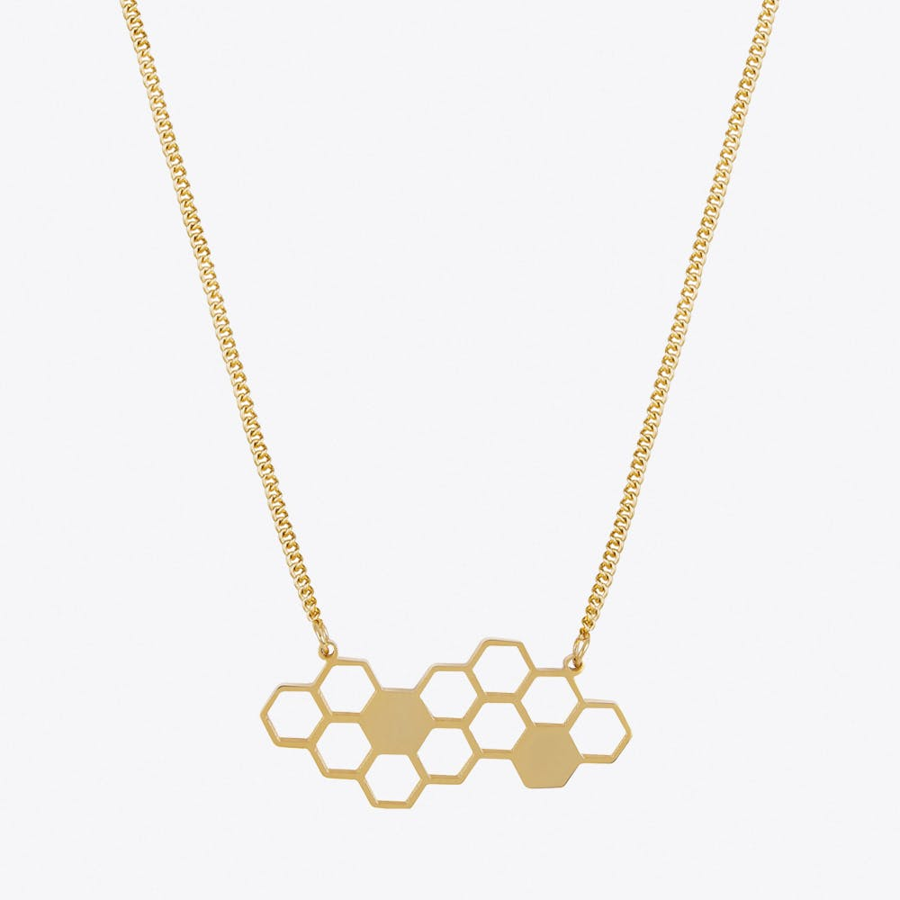 Honeycomb Necklace in Gold