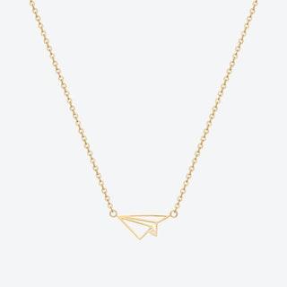 Paper Plane Pendant Necklace - Gold