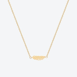 Feather Pendant Necklace - Gold