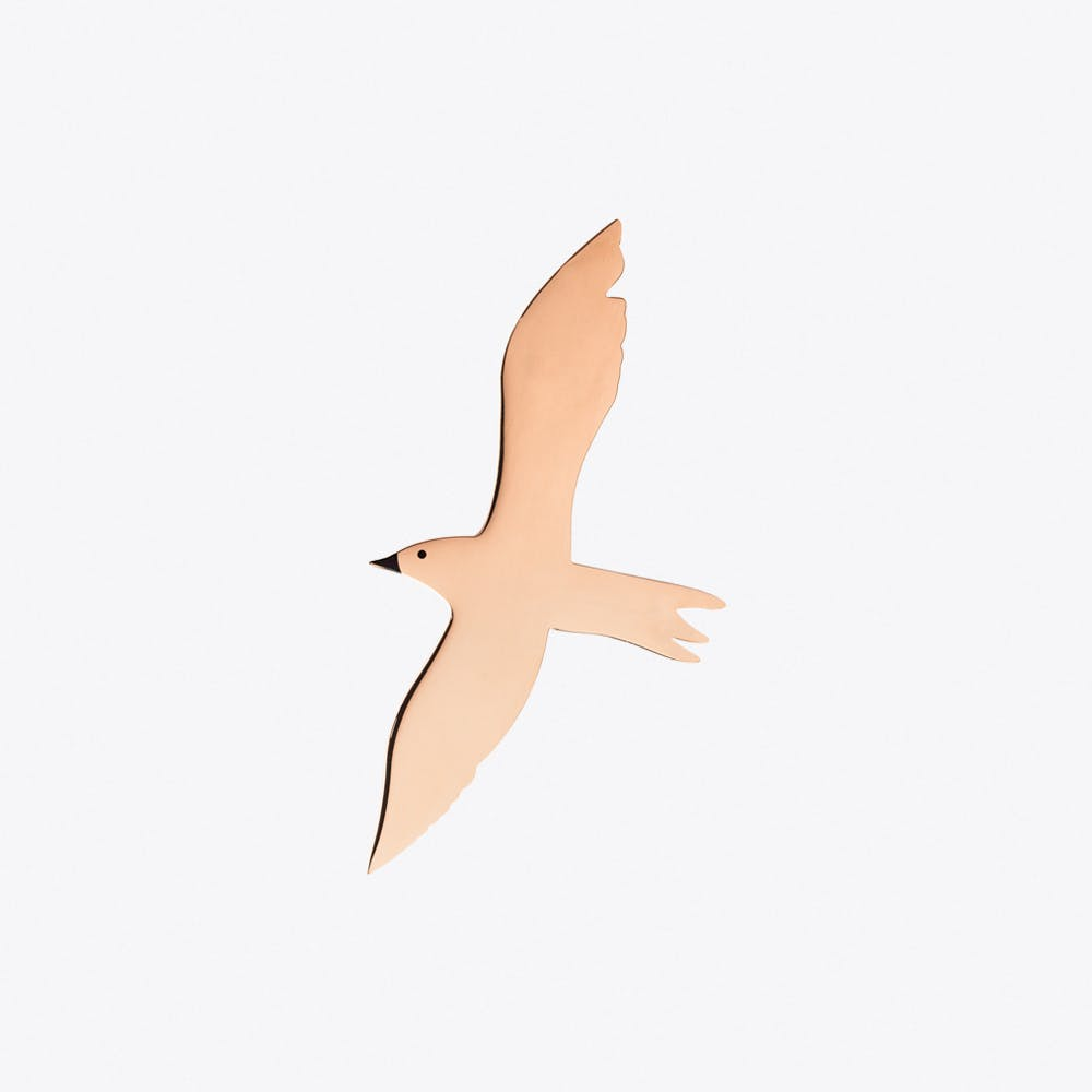 Seagull Brooch in Rose Gold