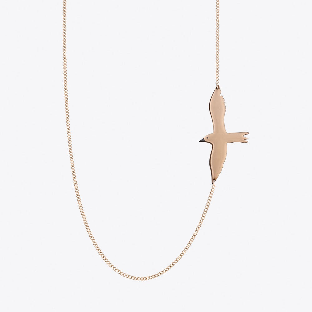 Seagull Necklace in Rose Gold