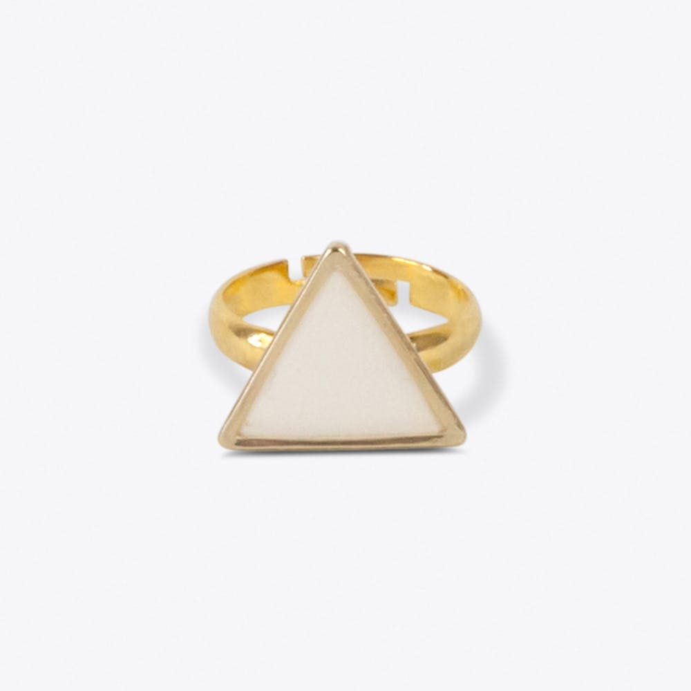 Knuckle Triangle Ring in White