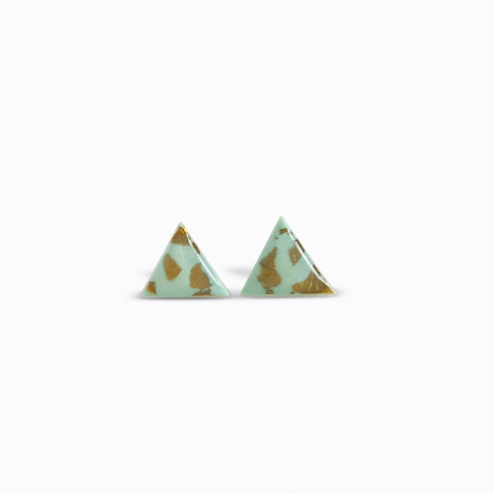 Triangle Studs in Mint