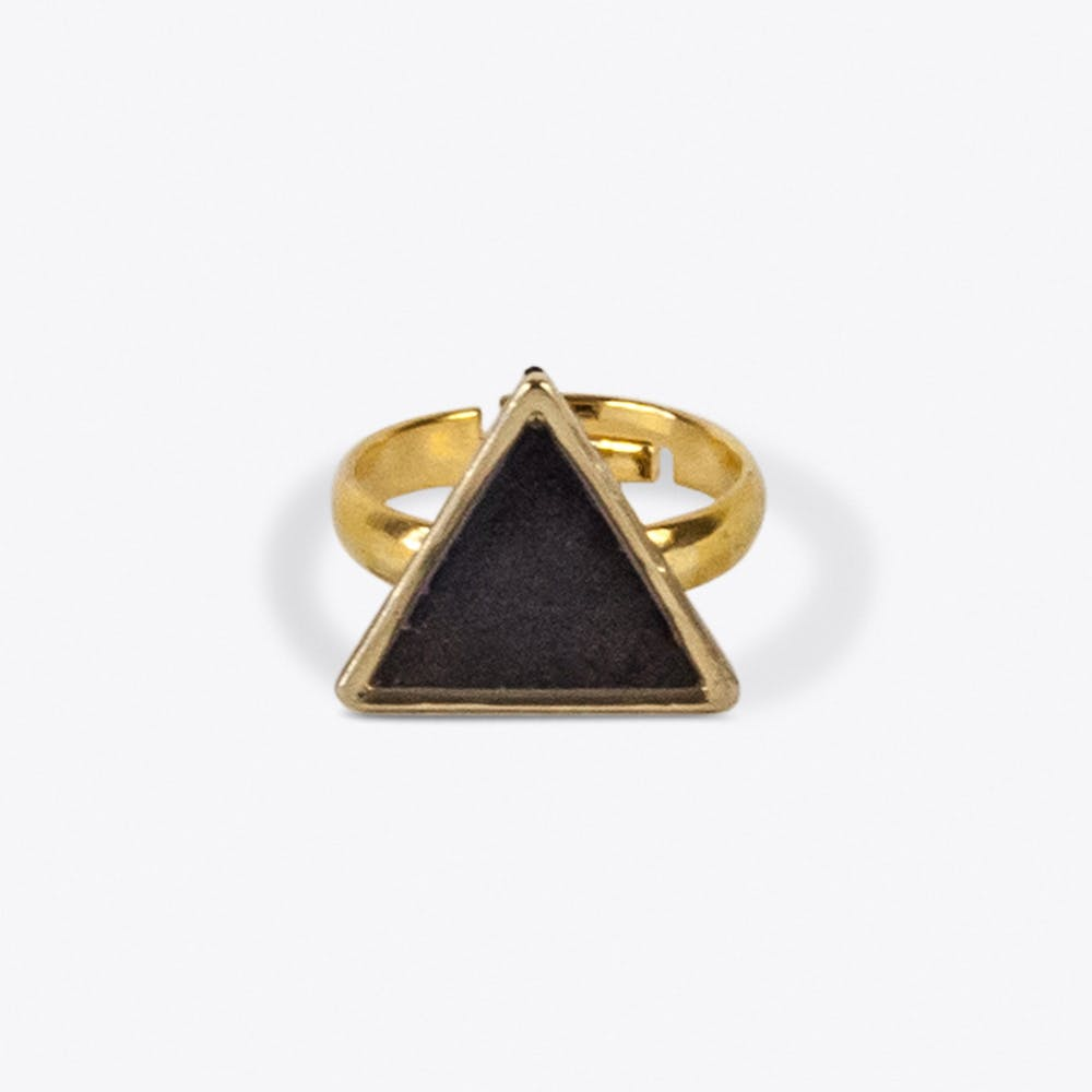 Knuckle Triangle Ring in Blackened Blue