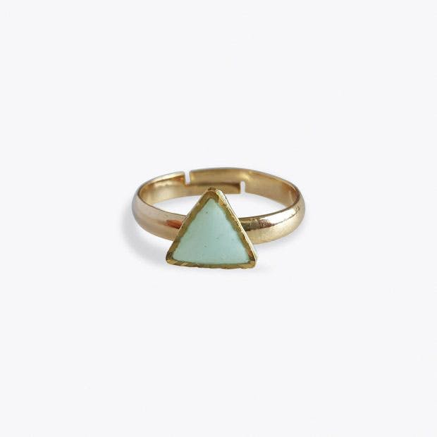 Tiny Triangle Ring in Mint