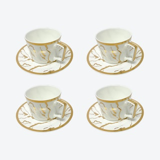 The Bruno Legacy Coffee Cups and Saucers - White - Set of 4