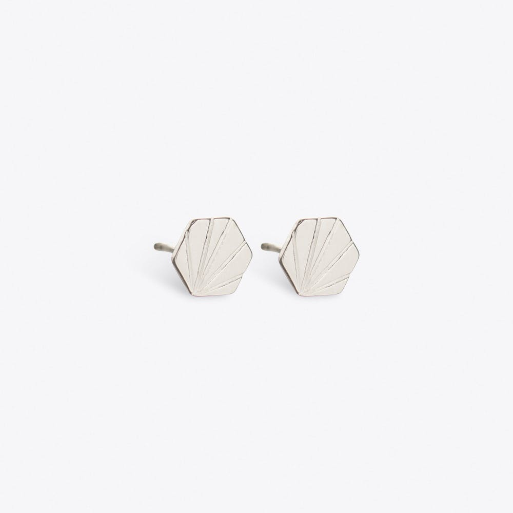 Hexagon Earrings in Silver